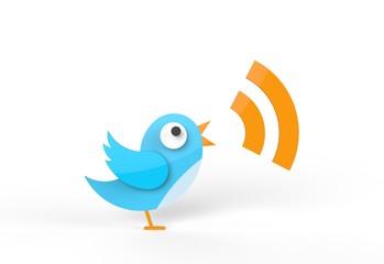 Cute twitter bird tweeting RSS