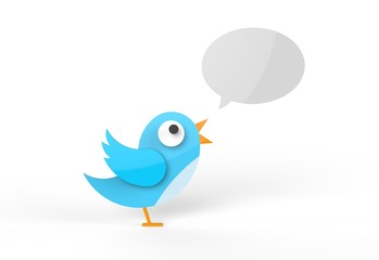 Cute twitter bird tweeting a message. Blank speech bubble.