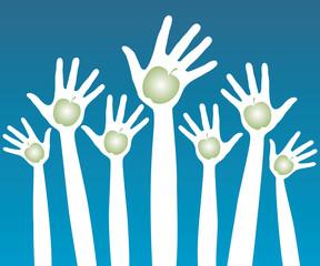 Healthy apple hands design.