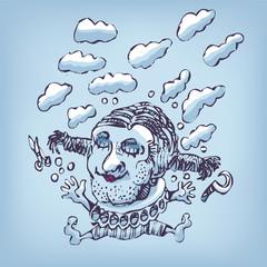 Zeichnung Wolkenkopf