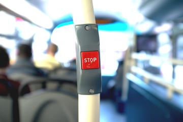 Papiers peints Rouge, noir, blanc Stop button in a bus
