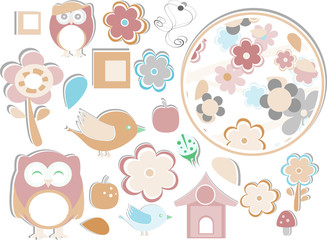 set elements owls, birds, flowers, apple, mushrooms, butterflies