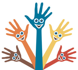 Hands with happy faces vector design.