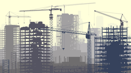 Illustration of construction site with cranes and building.