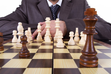 Businessman Thinking while Playing Chess