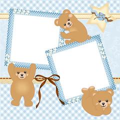 Baby boy photo frame with teddy bear