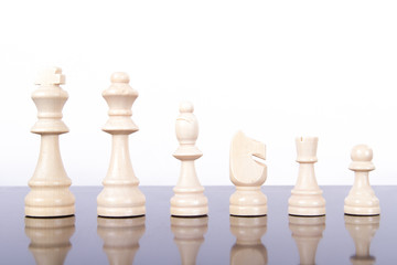 Set of Light Wooden Chess Pieces