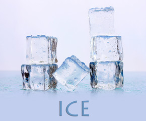 Ice cubes on light background