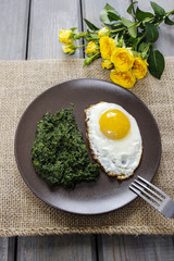 Egg with spinach  for healthy breakfast.