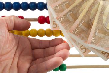 Abacus beads with euro, european money