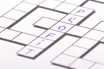 Crossword Puzzle with Profit Text