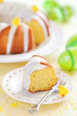 Slice of lemon cake, selective focus