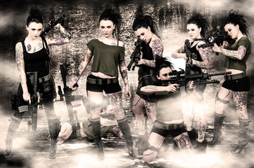 Women with Assault Rifle