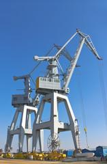 Cranes in the shipyard.