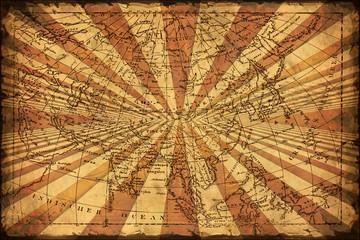 Vintage Strahlen - Landkarte