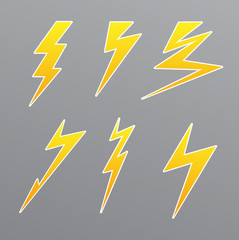 thunder set icon vector