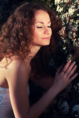 portrait of young beautiful stylish bride outdoors