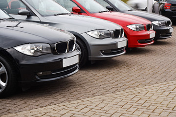 line of luxury used cars