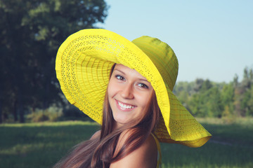 Beautiful girl in a hat.