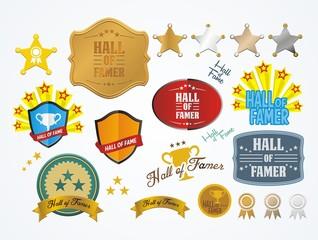 hall of famer badges - vector sets