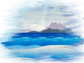 Grunge islands in ocean