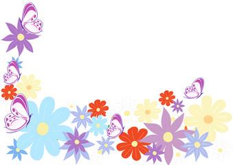 sfondo fiori colorati e farfalle