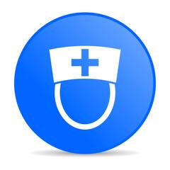nurse blue circle web glossy icon