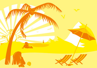 summer vacation on the beach under a palm tree