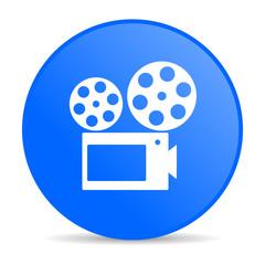 cinema blue circle web glossy icon