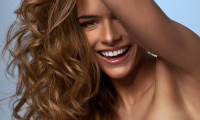 Portrait of beautiful happy blonde woman