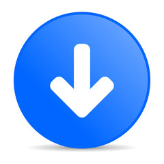 arrow down blue circle web glossy icon