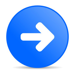 arrow right blue circle web glossy icon