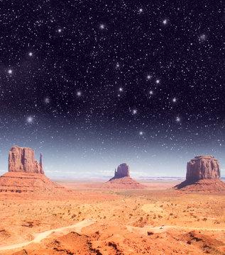 Stars over the wonderful Monument Valley scenario