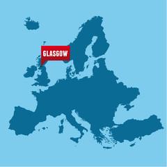 Keuken foto achterwand Wereldkaart European map and Glasgow city