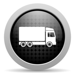 delivery black circle web glossy icon