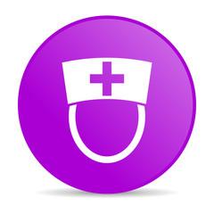 nurse violet circle web glossy icon