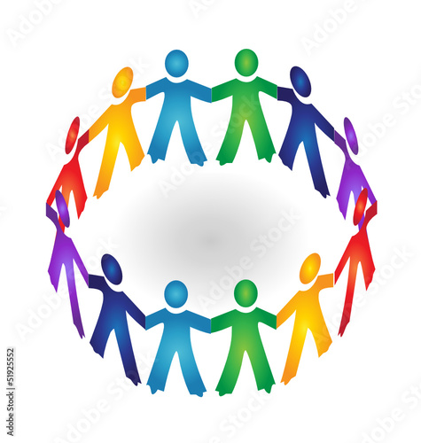 """Teamwork holding hands logo vector"" Stock image and ..."