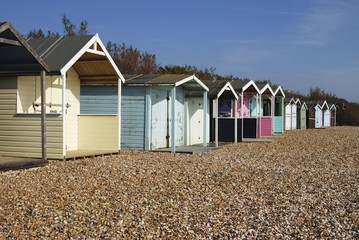 Beach huts at Rustington. Sussex. England