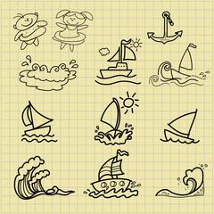 summer cartoons hand drawing