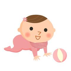 赤ちゃんとボール(女の子)