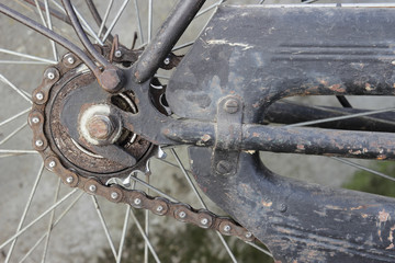 detail of an old bicycle