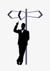 businessman in front of a pointer