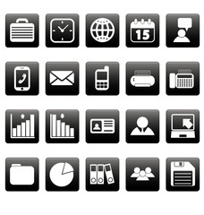 White business icons on black squares
