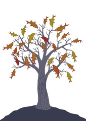 Fish tree on white. Vector drawing.