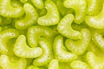 Cut celery close up background