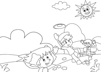 Cartoon coloring page with children in the park - illustration for children