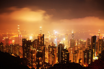 Hong Kong Victoria Harbour Night Scene