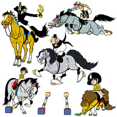 set with cartoon horse riders