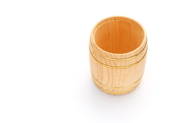 top view wooden barrel on white with copy space