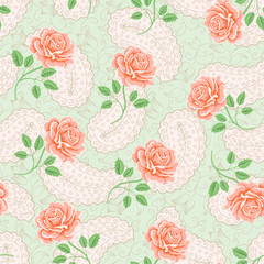 Seamless wallpaper pattern with roses. Flower pattern